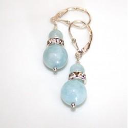 boucle d'oreille en perles d'aigue marine
