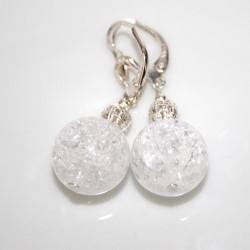 boucle d'oreille cristal de roche perles 14 mm