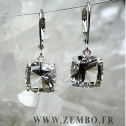 boucle d oreille quartz LA GARDETTE carre FANCY