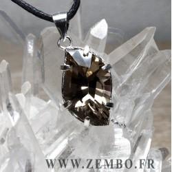 pendentif quartz fume mont blanc taille grande vague